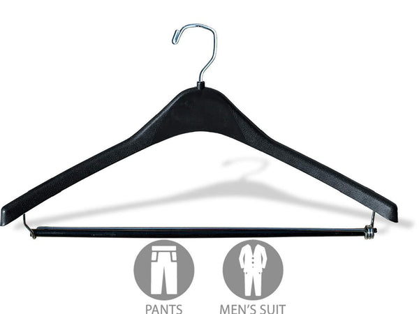 Buy now the great american hanger company heavy duty black plastic suit hanger with locking wooden pant bar box of 100 1 2 inch thick curved hangers for uniforms and coats