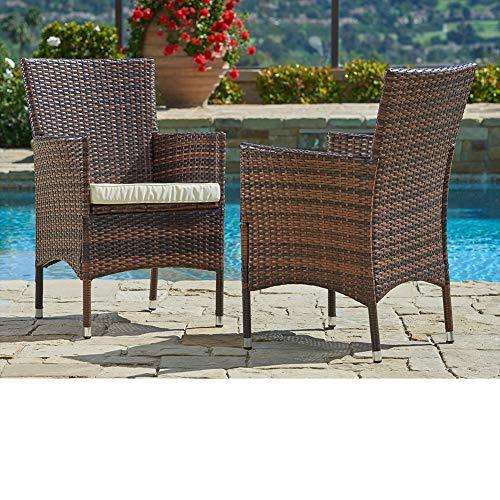 Outdoor Furniture Wicker Chairs (2-Piece Set) Thick, Durable Cushions | Partner with Tables, Umbrella Stand or Sofa | Porch, Backyard, Pool or Garden