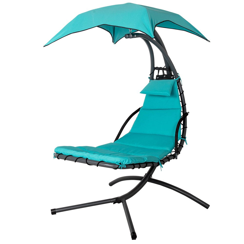 Lazy Daze Hammocks Dream Chair with Umbrella Hanging Chaise Lounge Chair Arc Curved Hammock (Lake Blue)