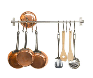 "Wall Mounted Pan Pot Rack 35"", Willor Kitchen Pan Rack Utensil Hanger 35"" Stainless Steel Rail with 10 Hooks for Spatula Pan Saucepan Ladle"