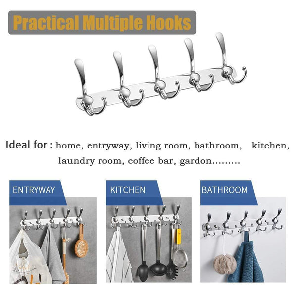 Discover the best besy wall mounted coat hooks self adhesive clothes robe hat rack rail with 15 hooks for bathroom kitchen office drill free with glue or wall mount with screws chrome plated 2 packs