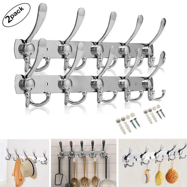 Purchase double row hooks wall hanger stainless steel rack hook coat hat clothes robe holder towel rack 2pack