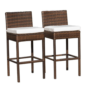 Sundale Outdoor 2 Pcs Brown Wicker Counter Height Bar Stool with Cushions All Weather Patio Furniture Set