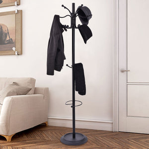 "Tangkula 72"" Metal Coat Hat Tree Stand with Umbrella Holder Coat Hanger Home Decor"
