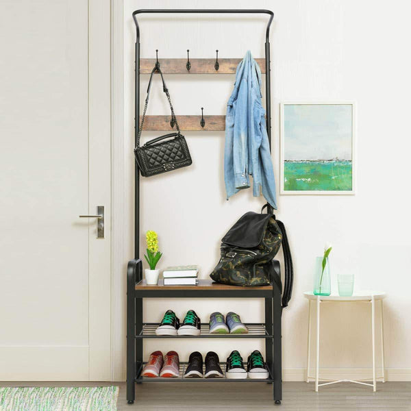 Storage kingso industrial coat rack hall tree entryway coat shoe rack 3 tier shoe bench 7 hooks wood look accent furniture with stable metal frame easy assembly