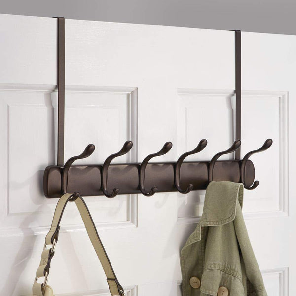 Best mdesign decorative over door long easy reach 12 hook metal storage organizer rack to hang jackets coats hoodies clothing hats scarves purses leashes bath towels robes 2 pack bronze