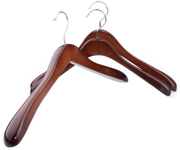Storage organizer superior gugertree wooden wide shoulder coat hanger women clothing hangers with polished chrome hook attractive walnut finish 3 pack