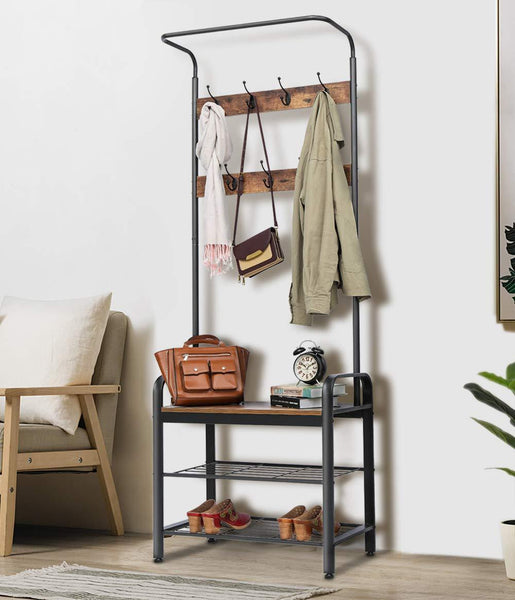 Top kingso industrial coat rack hall tree entryway coat shoe rack 3 tier shoe bench 7 hooks wood look accent furniture with stable metal frame easy assembly