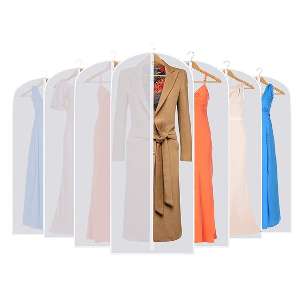 Kitchen skyugle clear garment bags dress cover 24 x 54 breathable hanging clothes storage protector for dance costumes suit coat plastic garment cover with sturdy zipper 7 pack