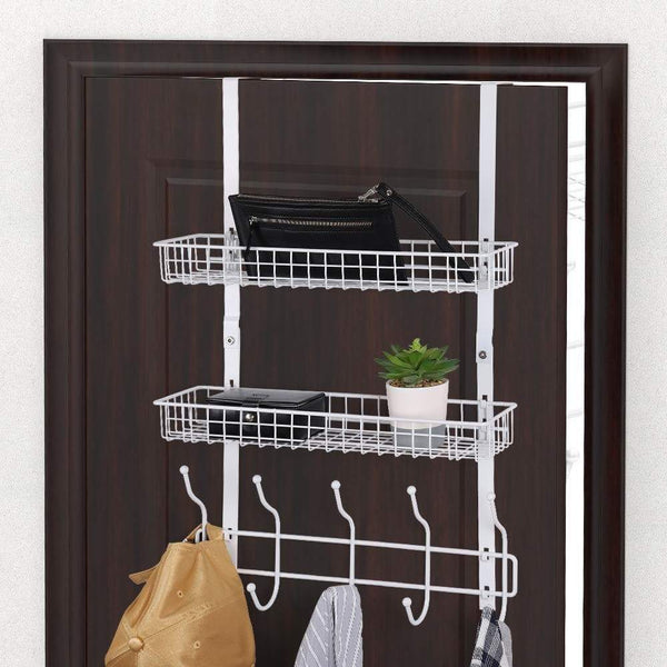 Shop nex upgrade over the door hook shelf organizer 5 hooks with 2 baskets storage rack for coats towels chrome white