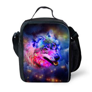 Ledback 3D Galaxy Kids Lunch Bag and Backpack,Insulated Lunchbox Black Lunch Box for Children Boys Girls 16 Inch School Bag with Bottle Holder Lightweight Book Rucksack Pencil Bags