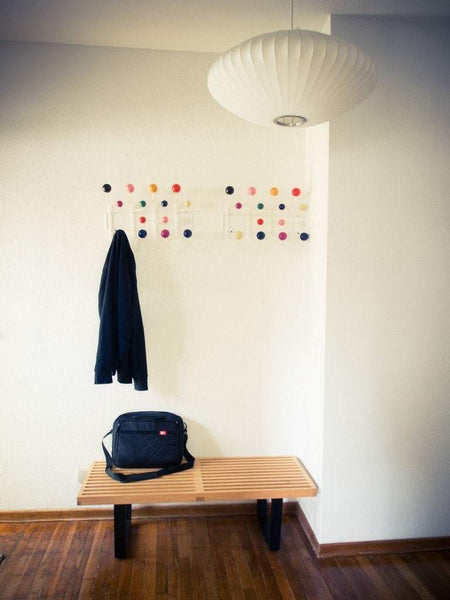 Exclusive mlf modern hang it all coat hook wall mounted coat rack with painted solid wooden balls in multi colors white metal framemulti color