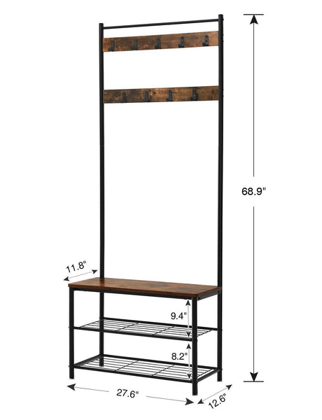 Buy now vasagle industrial coat rack hall tree entryway shoe bench storage shelf organizer accent furniture with metal frame uhsr41bx rustic brown