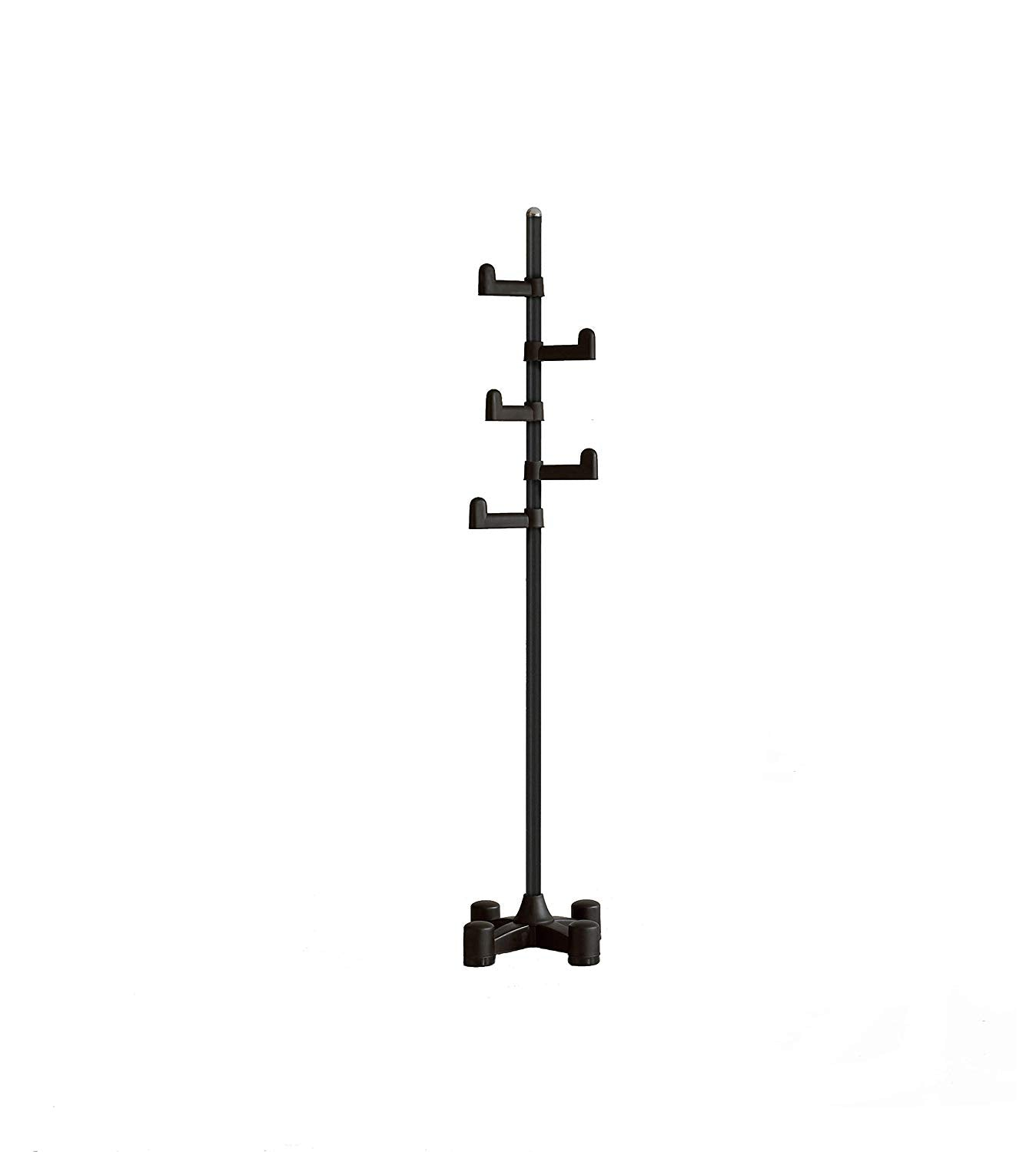 LivingStar Premium Coat Rack & Stand Hanger: modern design, easy to assemble, vertically adjustable hooks, durable body and base. Ample rooms to put heavy coats & clothes. Easily move around. (White)