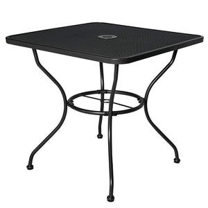 "Cloud Mountain 32"" x 32"" Outdoor Dining Table Tempered Glass Table Patio Bistro Table Top Umbrella Stand Square Table Deck Outdoor Furniture Garden Table, Dark Chocolate"
