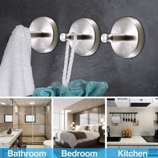 Best seller  emisk 2 pack wall hooks holder heavy duty drill hooks sus 304 stainless steel strong hook hanger for robe coat towel keys bags bedroom kitchen bathroom and garage