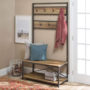 Heavy duty simple living products industrial hall tree rustic entryway storage organizer antique look bench with coat rack made from wood and metal rustic oak
