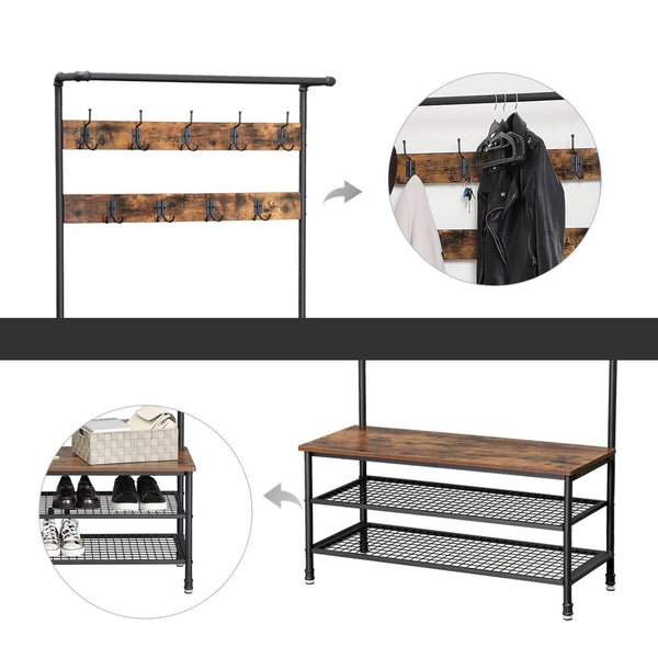 Shop here vasagle industrial coat rack with storage bench pipe style large hat and coat stand with 9 hooks and shoe rack multifunctional hall tree sturdy iron frame uhsr47bx