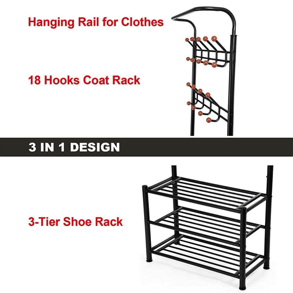 Buy now fyheart heavy duty coat shoe entryway rack with 3 tier shoe bench shelves organizer with coat hat umbrella rack 18 hooks for hallway entryway metal black