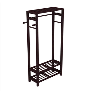 Select nice stony edge wood coat shoe garment rack and hat stand for hallway or front door entryway free standing clothing rail hanger easy to assemble espresso