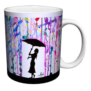 Marc Allante Girl Under Umbrella Paint Rain Modern Contemporary Art Porcelain Gift Coffee (Tea, Cocoa) 11 Oz. Mug