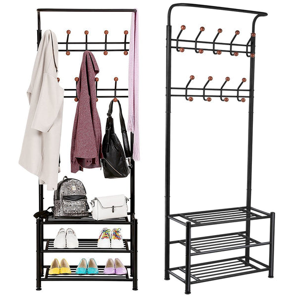 Discover the fyheart heavy duty coat shoe entryway rack with 3 tier shoe bench shelves organizer with coat hat umbrella rack 18 hooks for hallway entryway metal black