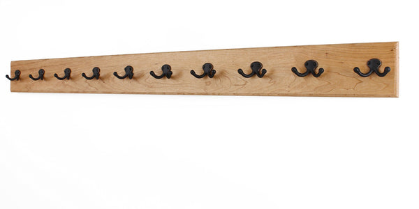 Kitchen solid cherry wall mounted coat rack with oil rubbed aged bronze coat hooks double style wall hooks 4 5 utra wide rail made in the usa natural stain 4 5 x 52 10 hooks