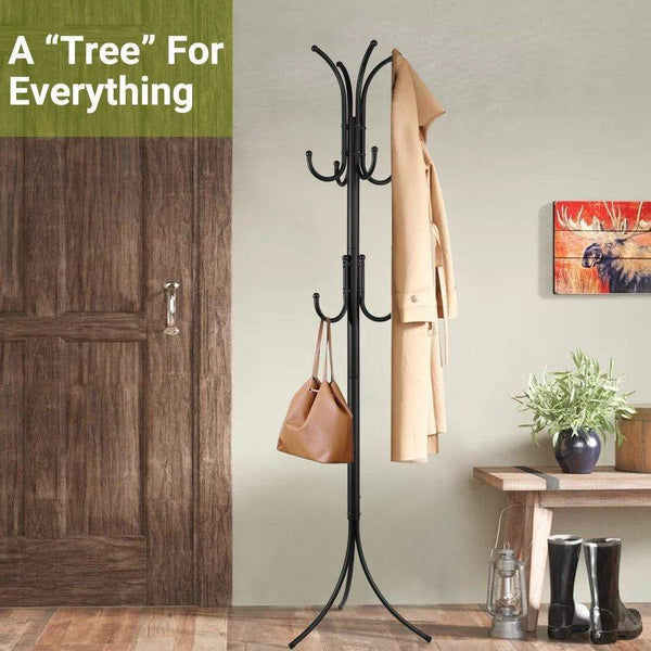 Budget friendly cozzine coat rack coat tree hat hanger holder 11 hooks for jacket umbrella tree stand with base metal black