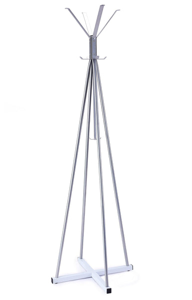 New wilshine coat tree heavy sturdy metal coat rack with umbrella stand coat racks free standing with 8 hooks silver white