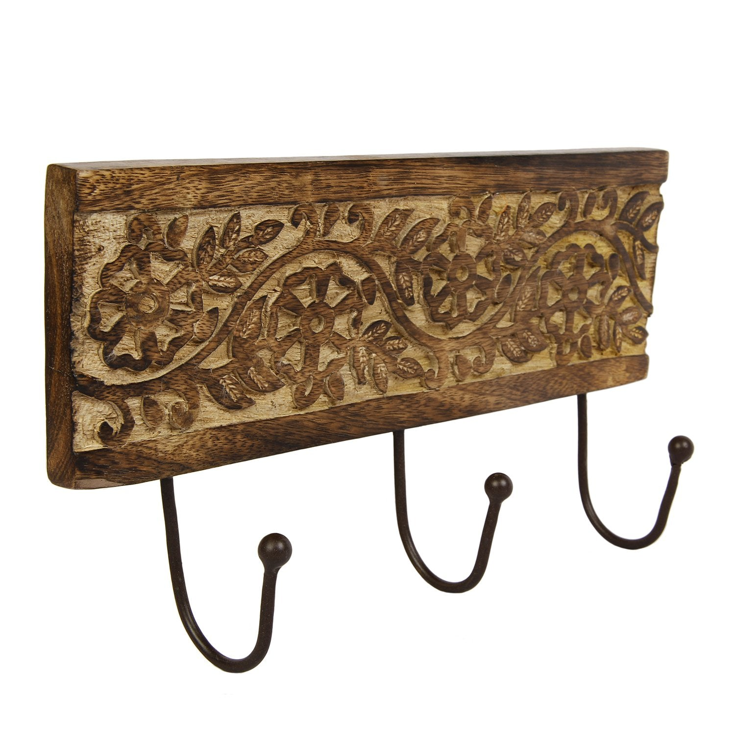 Wall Mounted Key Coat Hanger with 3 Hooks Hat Umbrella Holder Wooden Floral Carved Home Kitchen Decorative