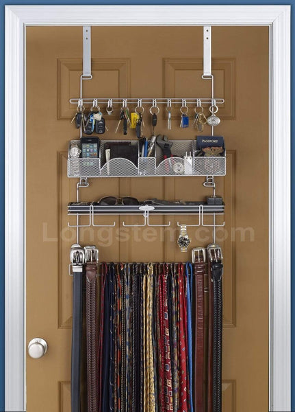 Storage organizer mens over the door wall belt tie valet organizer silver powder coat high quality mens organizer by longstem patented rated best now also in black 9200
