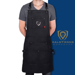 Heavy duty dalstrong professional chefs kitchen apron sous team 6 heavy duty waxed canvas 5 storage pockets towel tong loop liquid repellent coating genuine leather accents adjustable straps