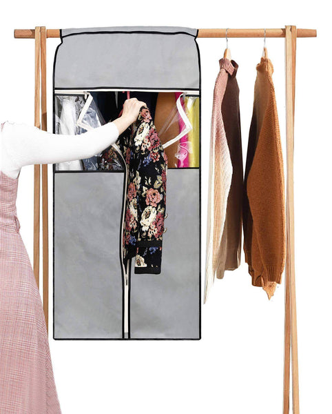 Discover sleeping lamb garment bag organizer storage with clear pvc windows garment rack cover well sealed hanging closet cover for suits coats jackets grey