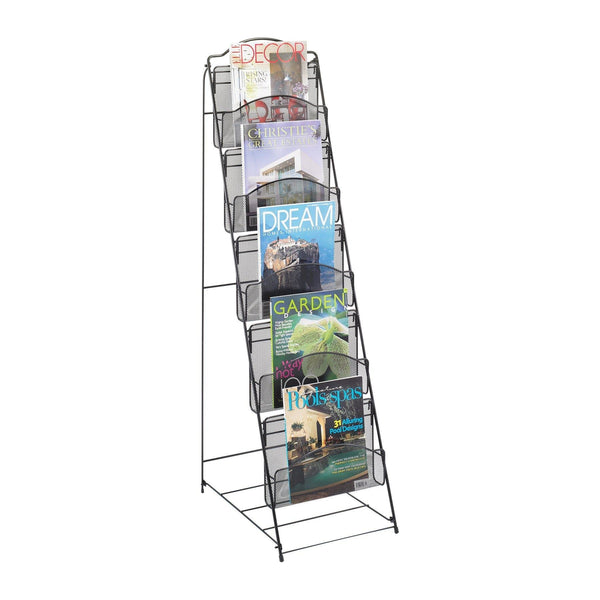 Kitchen safco products onyx floor literature organizer rack 5 pocket 6461bl black powder coat finish durable steel mesh construction space saving functionality