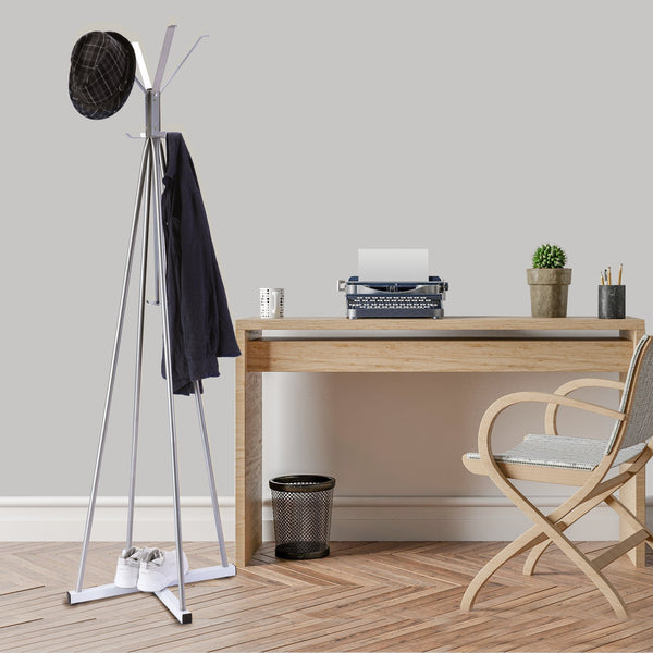 Order now wilshine coat tree heavy sturdy metal coat rack with umbrella stand coat racks free standing with 8 hooks silver white