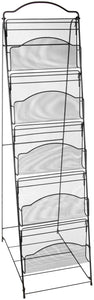 Heavy duty safco products onyx floor literature organizer rack 5 pocket 6461bl black powder coat finish durable steel mesh construction space saving functionality