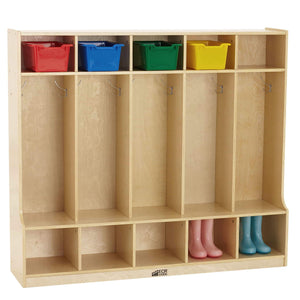 Kitchen ecr4kids birch school coat locker for toddlers and kids 5 section coat locker with bench and cubby storage shelves commercial or personal use certified and safe 48 high natural