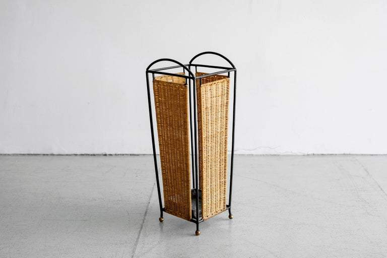 French Wicker and Iron Umbrella Holder