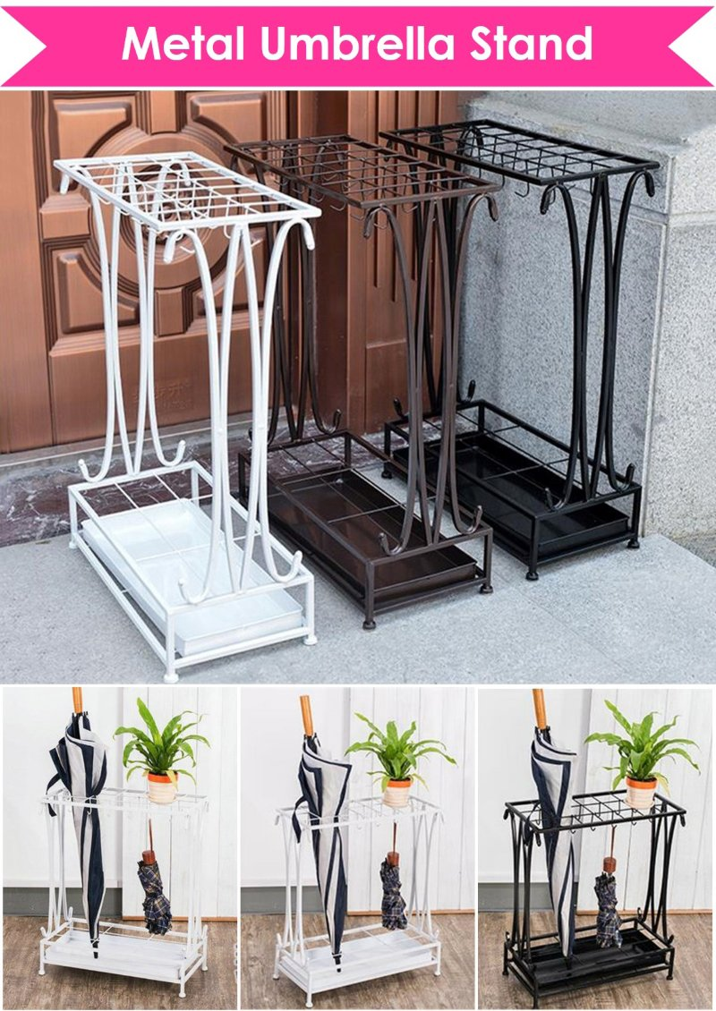 Metal Umbrella Stand Holder Organiser Organizer Rack Shelf Shelves Home