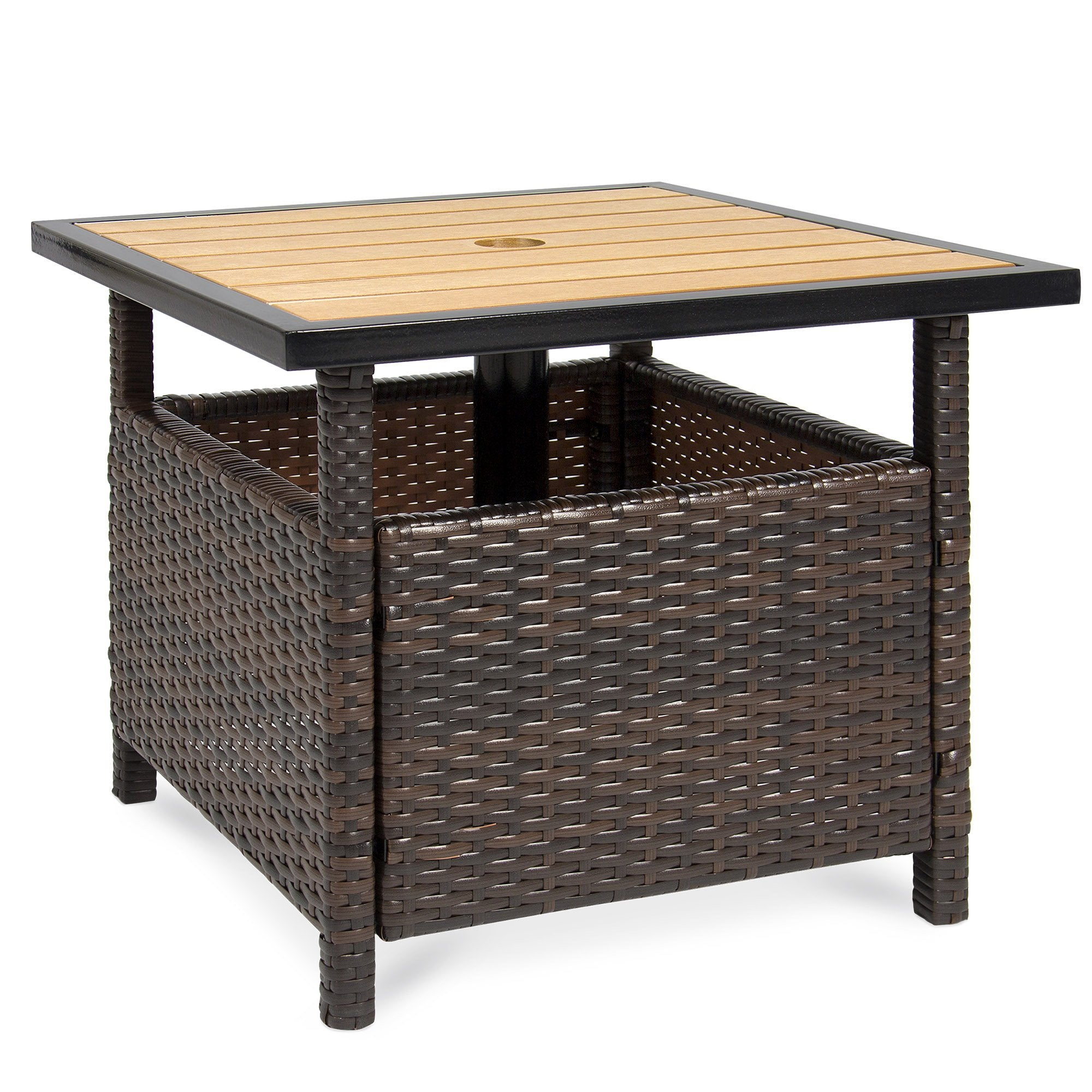 Outdoor Wicker Patio Umbrella Stand Table Accent Furniture w/ Steel Frame