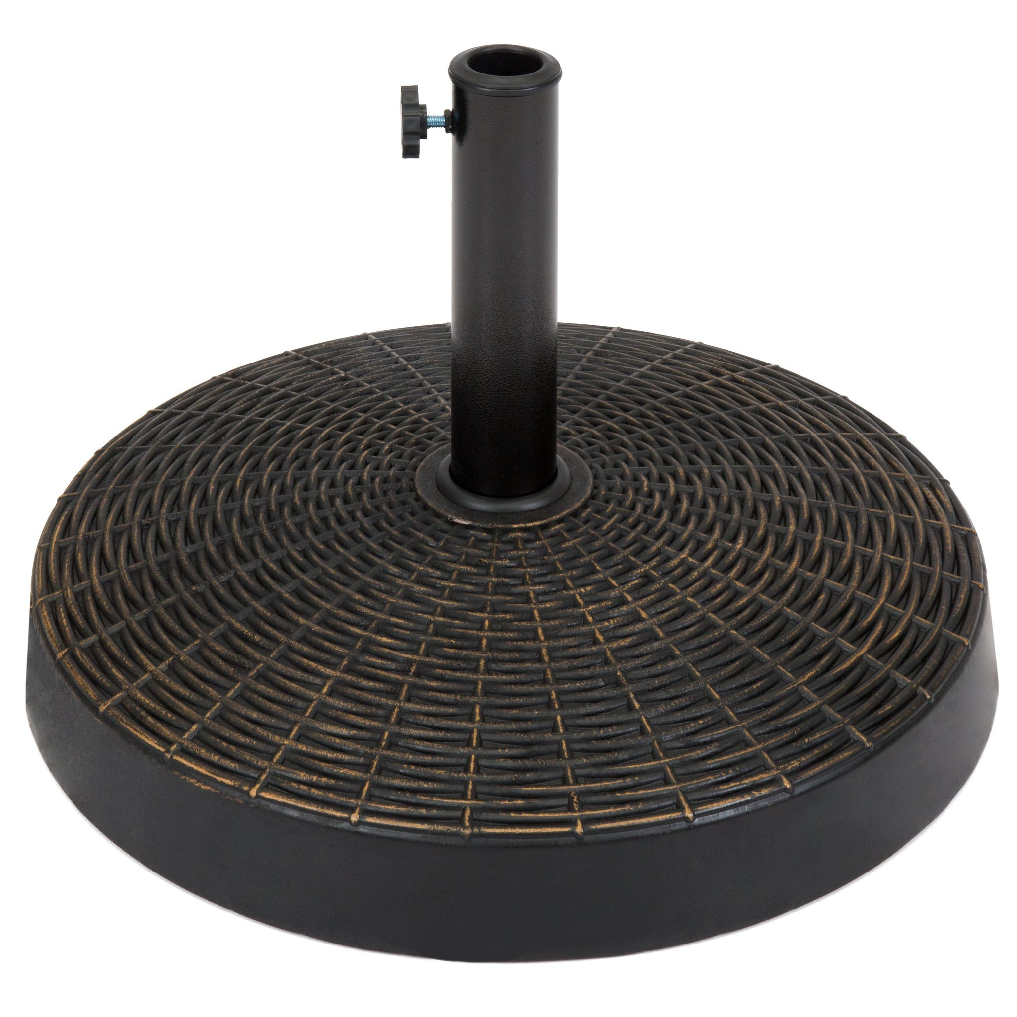 55lb Round Wicker Style Patio Umbrella Stand w/ Blackened Bronze Finish