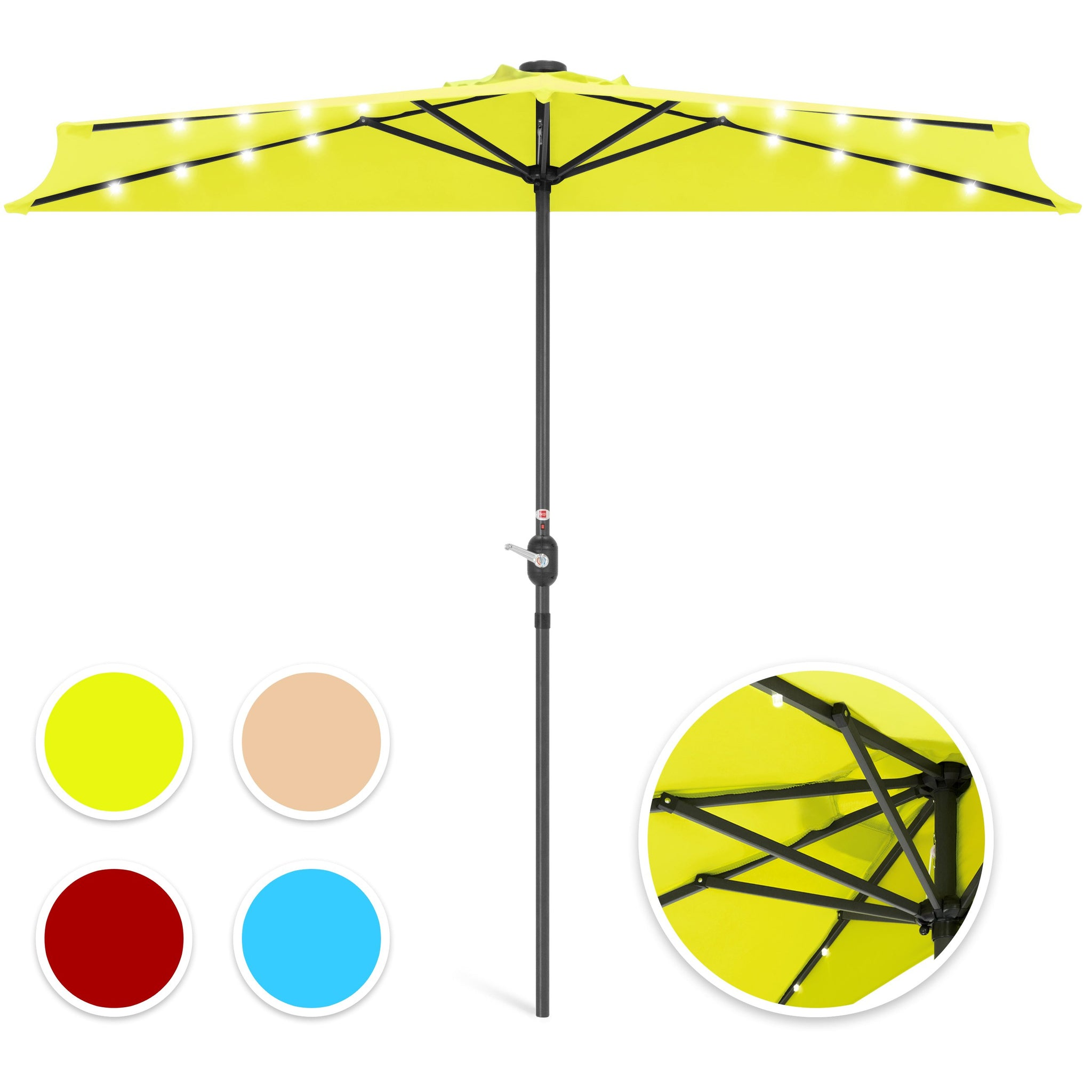 8.5ft Outdoor Solar LED Half Patio Umbrella w/ Easy Crank