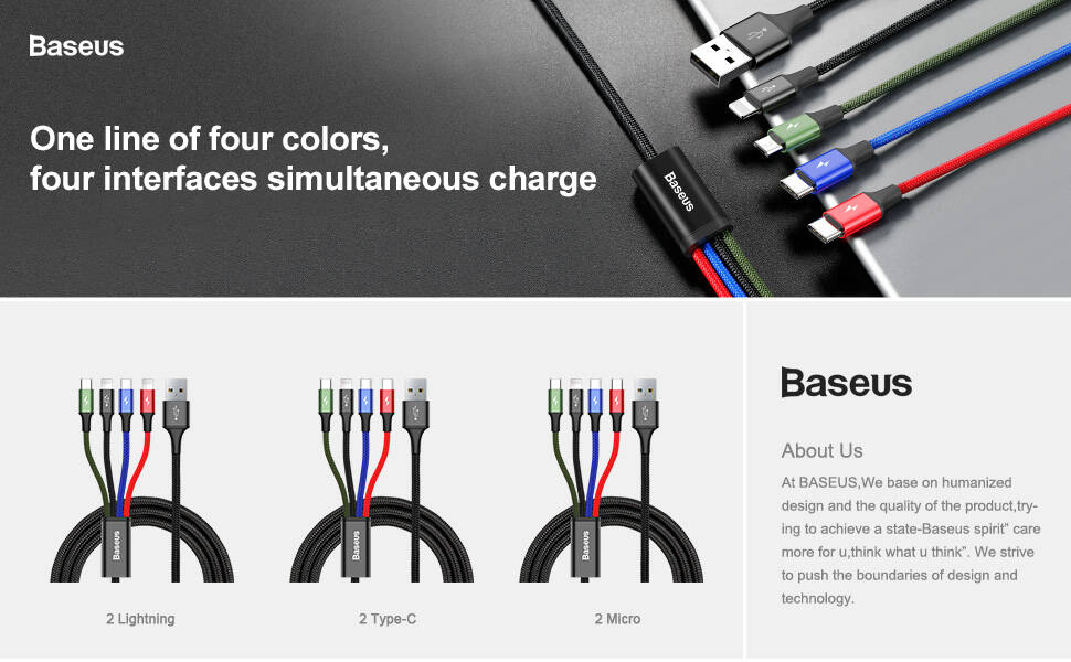 baseus 4 in 1 usb type c cable