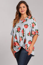 Load image into Gallery viewer, Plus Size Knotted Floral Top