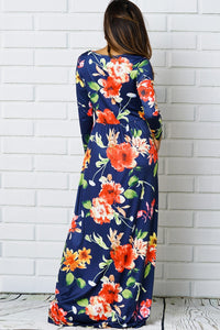 Navy & Orange Floral Maxi Dress