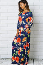 Load image into Gallery viewer, Navy & Orange Floral Maxi Dress