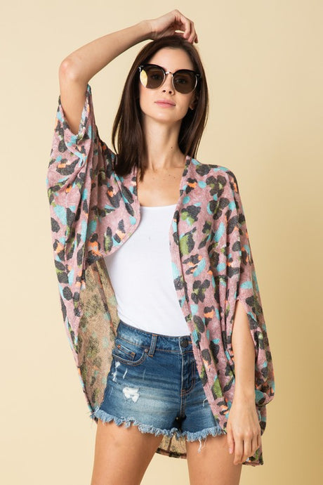 3/4 Sleeve Multi Animal Print Lightweight Knit Kimono Cardigan