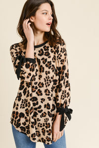Animal Print Tunic with Ribbon Detail