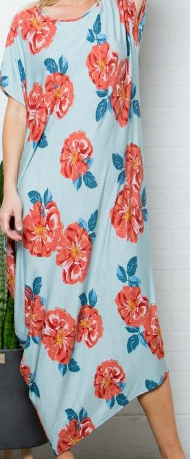 Plus Size Asymmetrical Maxi Floral Dress
