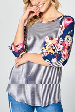 Load image into Gallery viewer, Floral Stripe Baseball Top